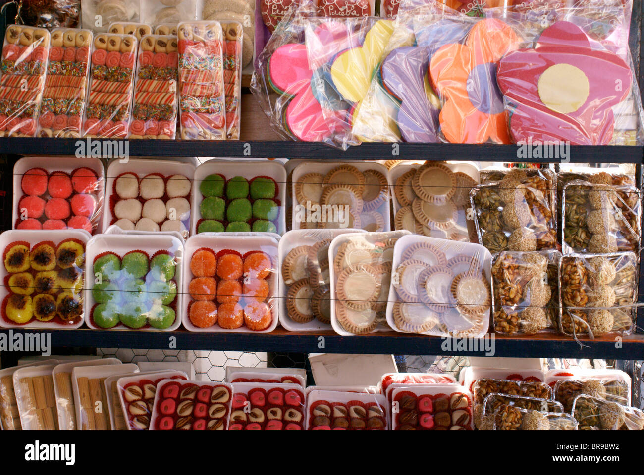 Sweets for sale in the city of Puebla, Mexico. - Stock Image