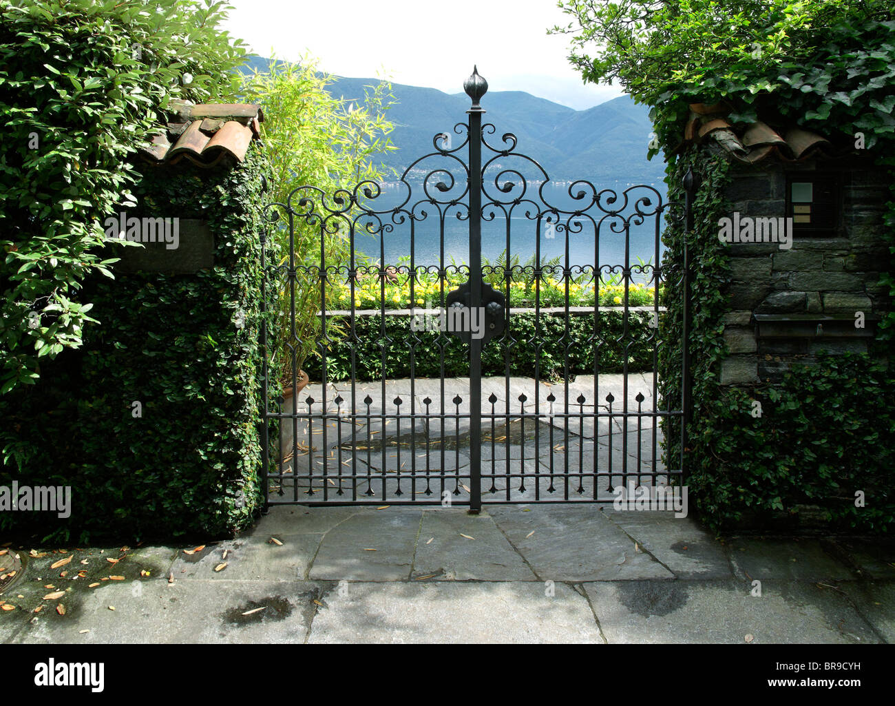 view from entry gate of villa to maggiore lake - canton of ticino - switzerland - Stock Image