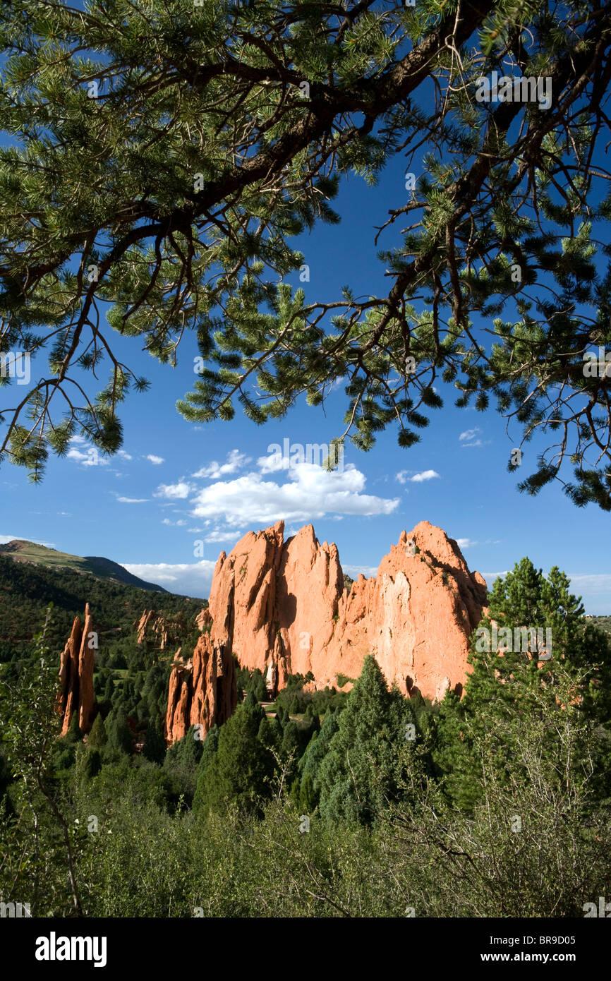 Garden of the Gods Landscape - Colorado Springs, Colorado USA - Stock Image