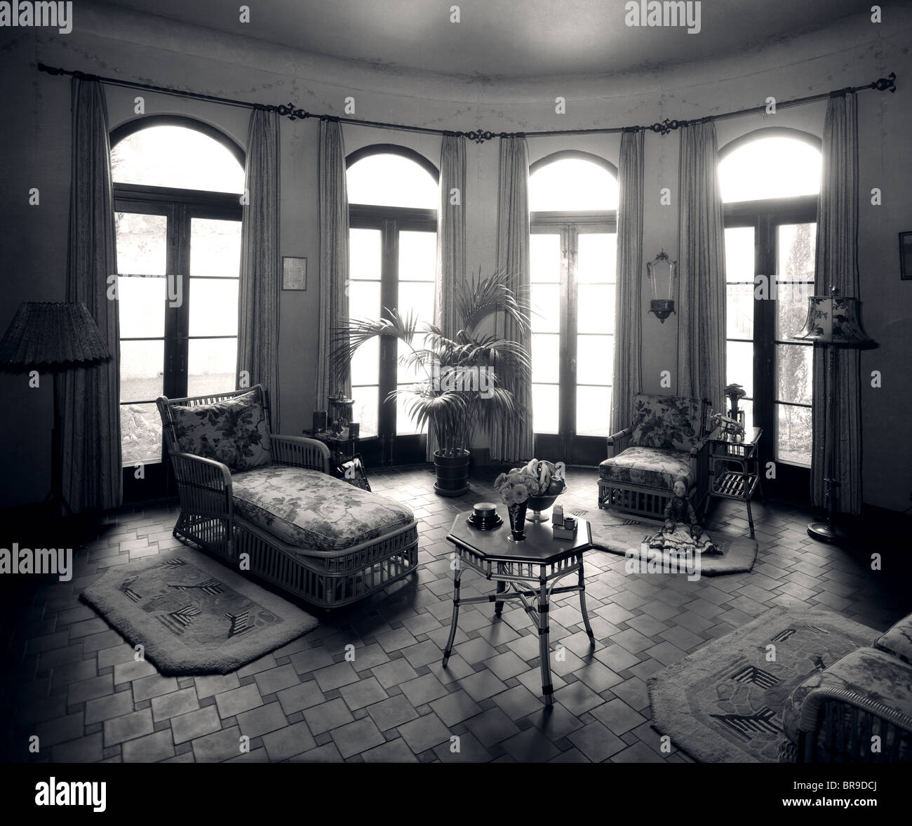 1920s interior upscale solarium french door windows stock image