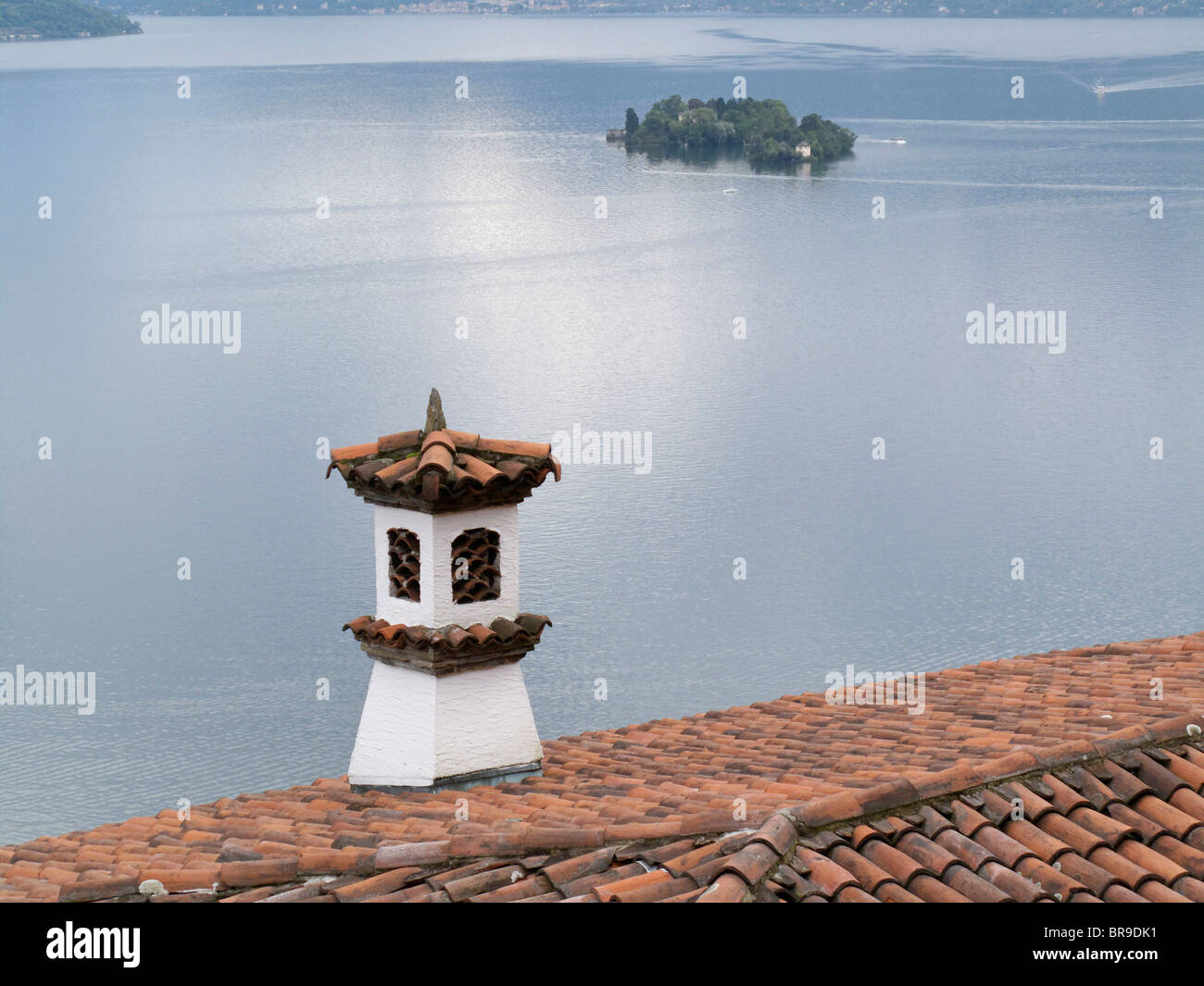 roof tiles - view from villa to maggiore lake and brissago island - canton of ticino - switzerland - Stock Image