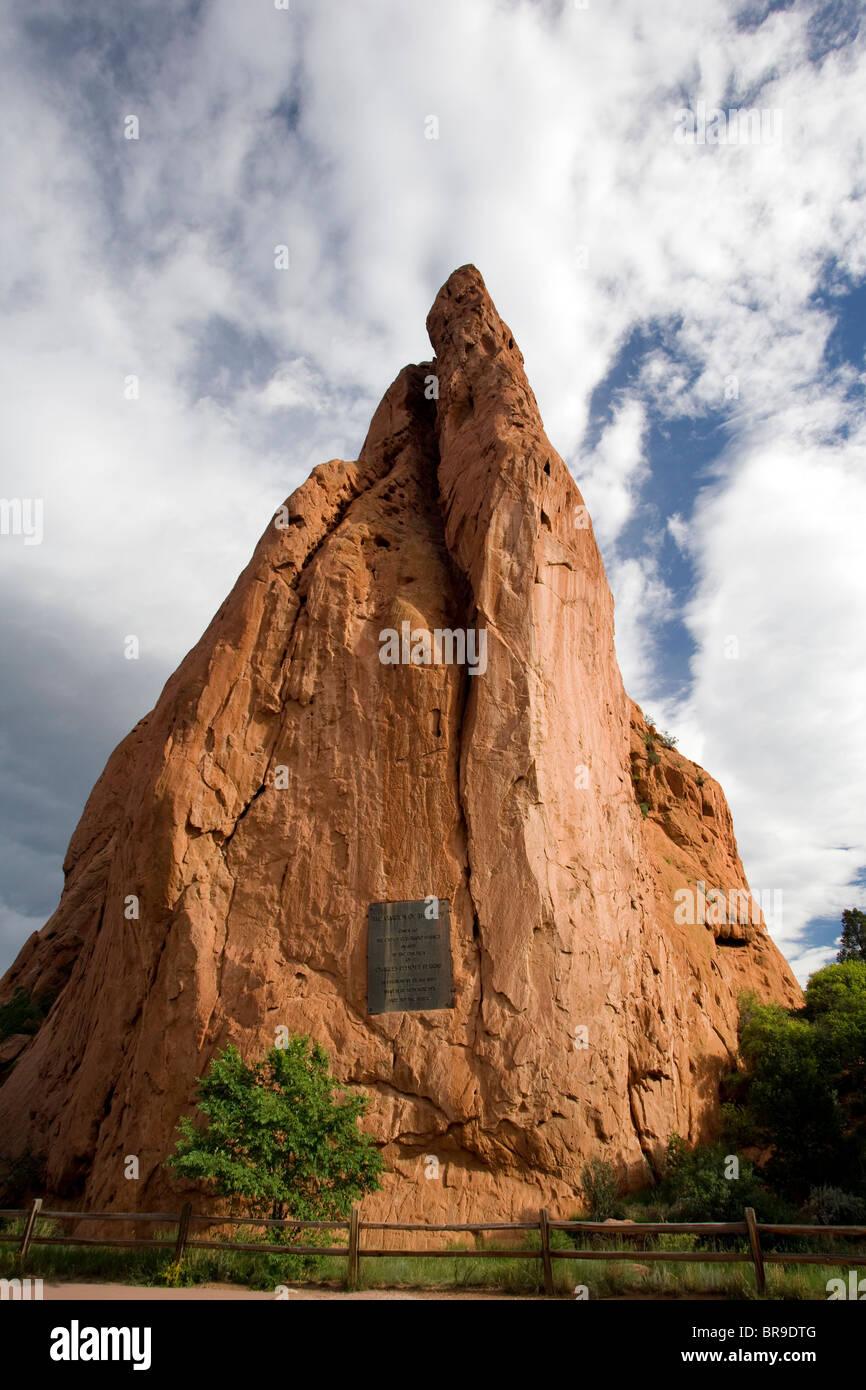 Signature Rock at the Garden of the Gods - Colorado Springs, Colorado USA - Stock Image