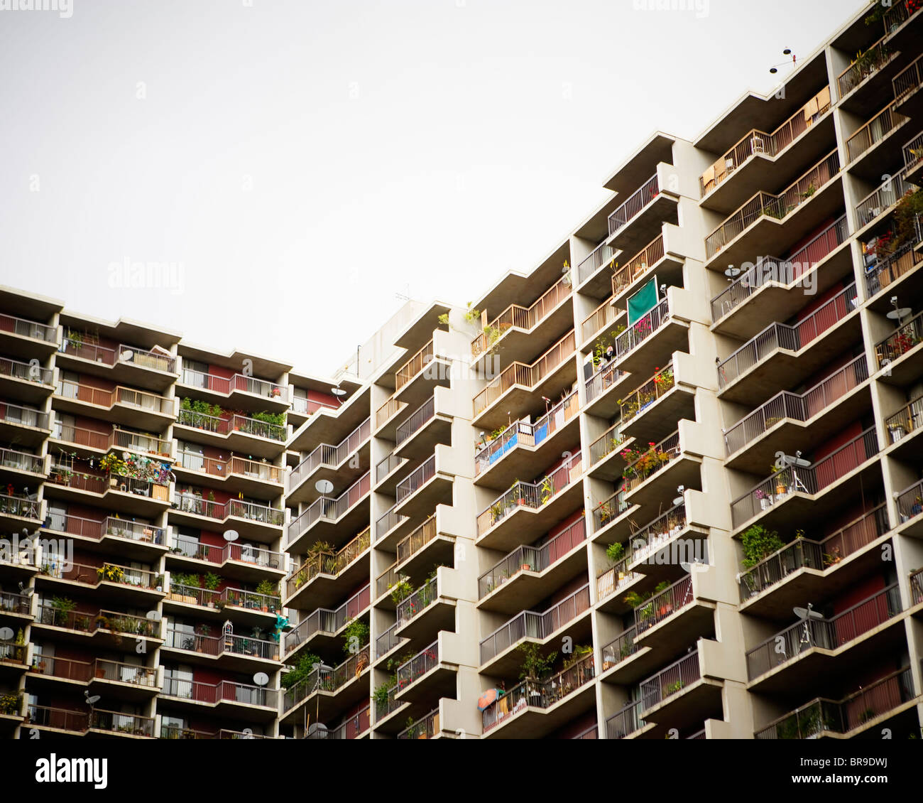 Balconies of high rise apartments Los Angeles California. - Stock Image
