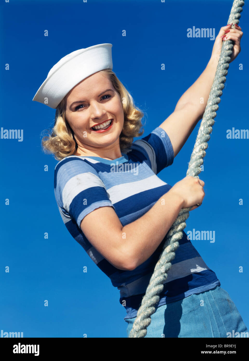 e6fba8115 1940s SMILING BLOND GIRL WEARING NAVY SAILOR HAT BLUE STRIPED SHIRT ...