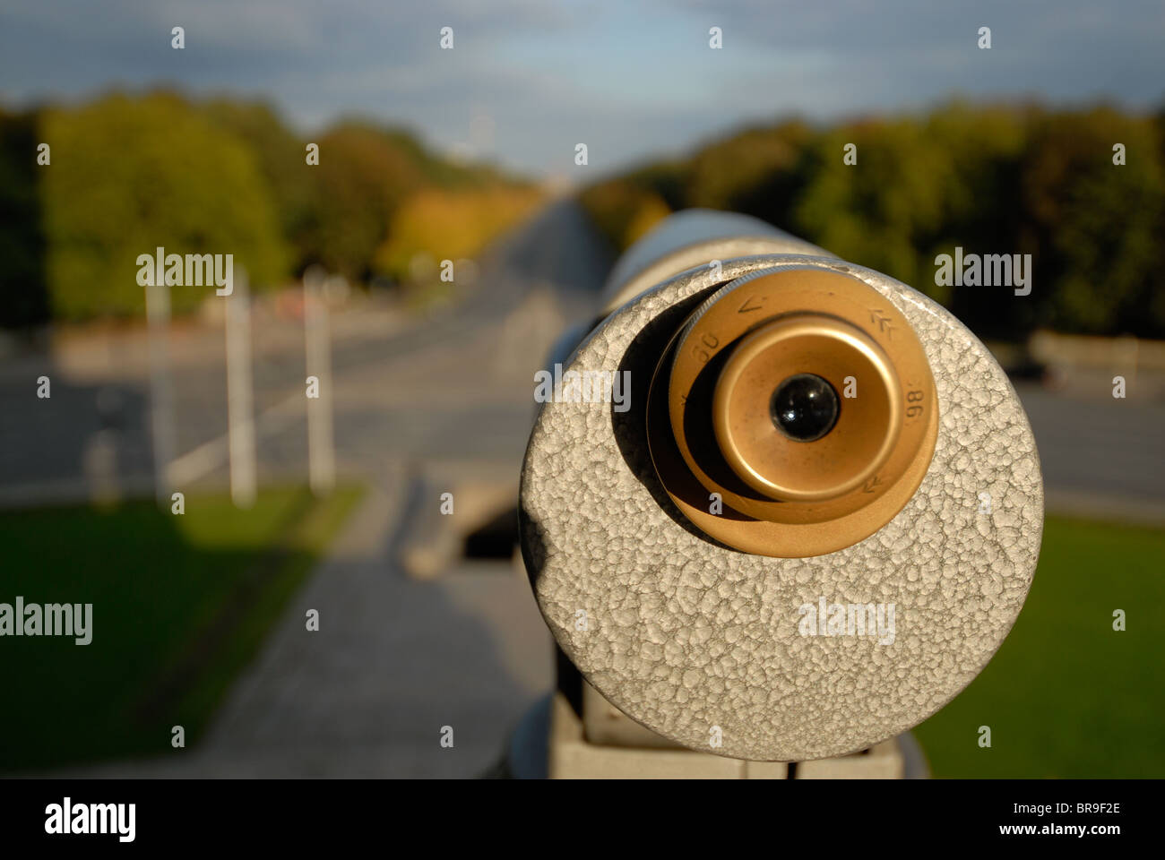 telescope on the Siegessäule, or in English 'The Victory Column' was built to celebrate the military successes - Stock Image