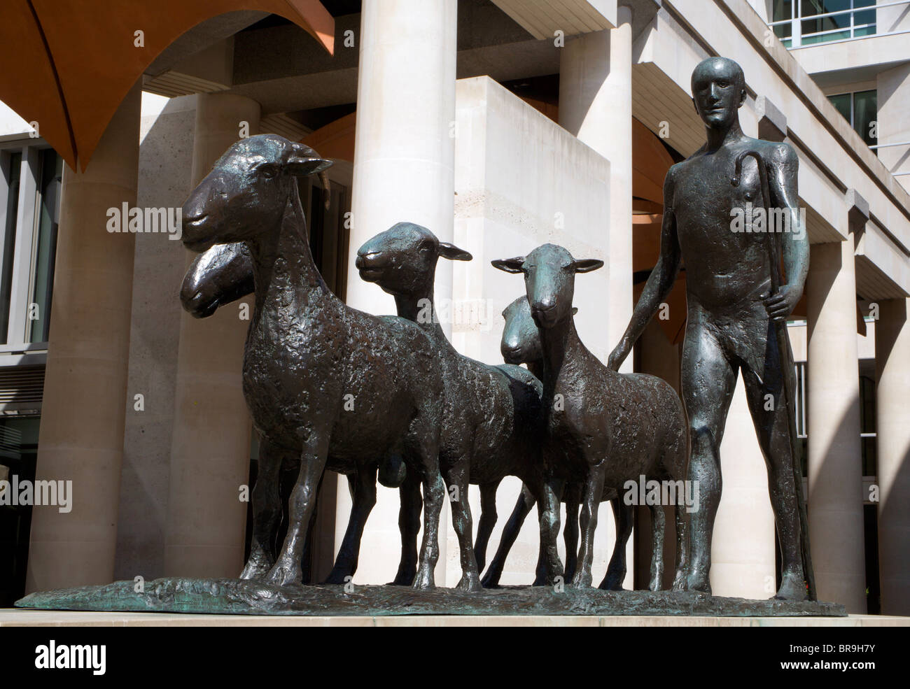 London - Paternoster square - statue of Shepherd and Sheep,Dame Elisabeth Frink - Stock Image