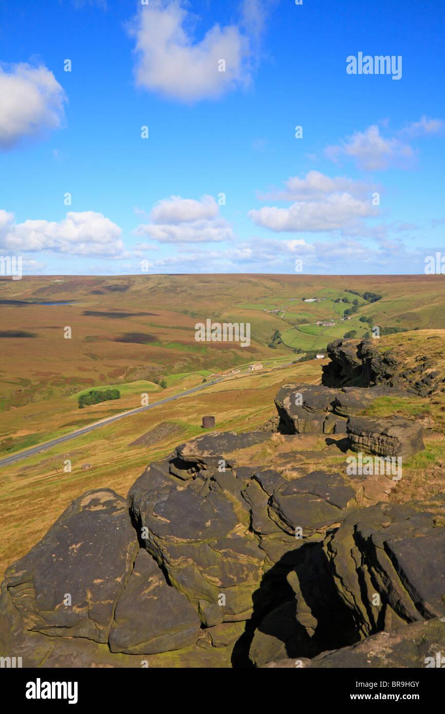 Marsden Moor and the A62 Transpennine road below Pule Hill, Marsden, West Yorkshire, England, UK. - Stock Image