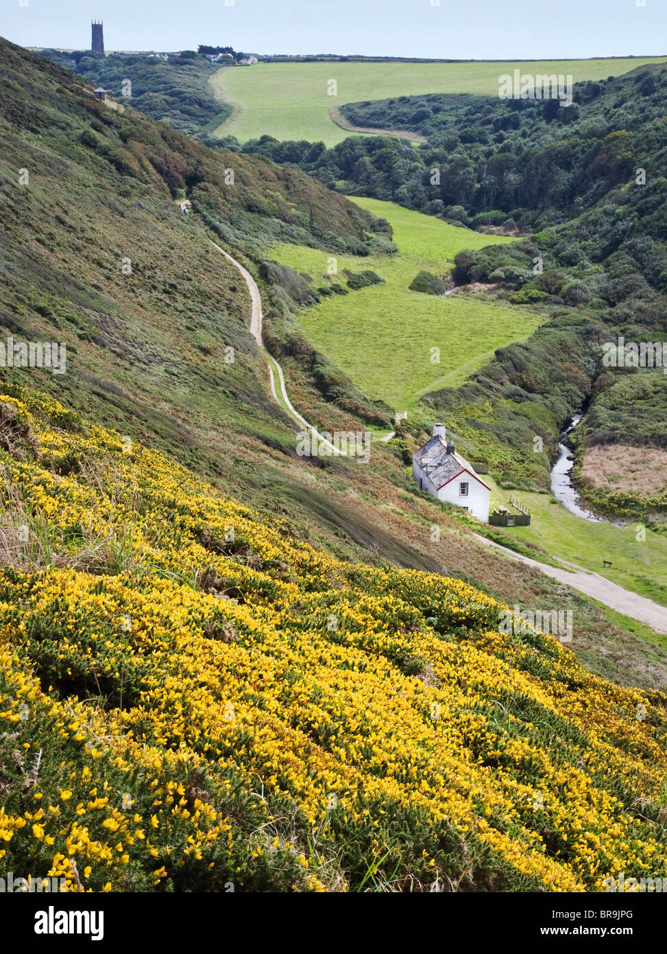 Abbey River valley at Blackpool Mill looking to Stoke church on the north coast of Devon near Hartland Point - Stock Image