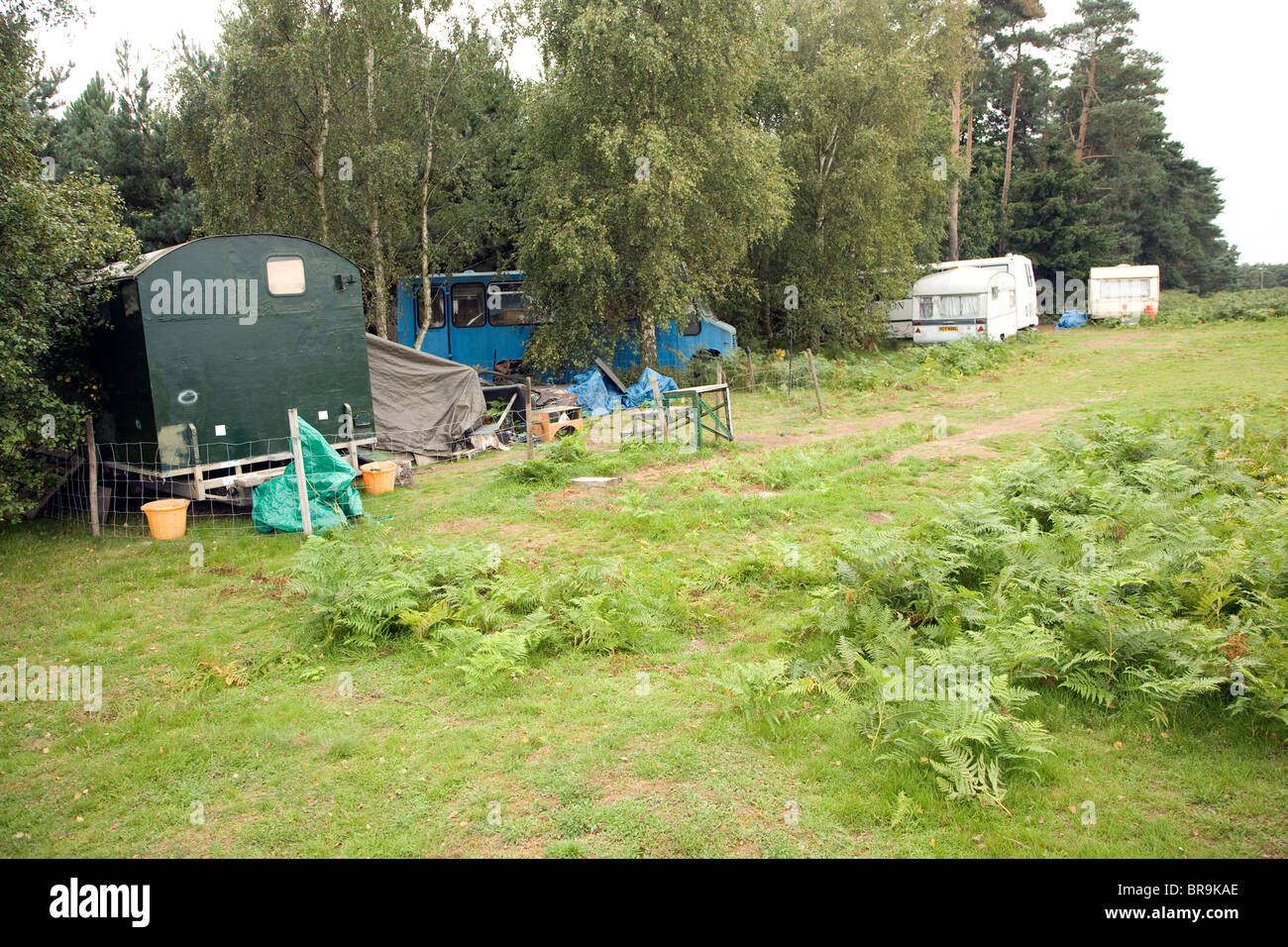 Small new age travellers site Sutton Heath, Suffolk, England - Stock Image