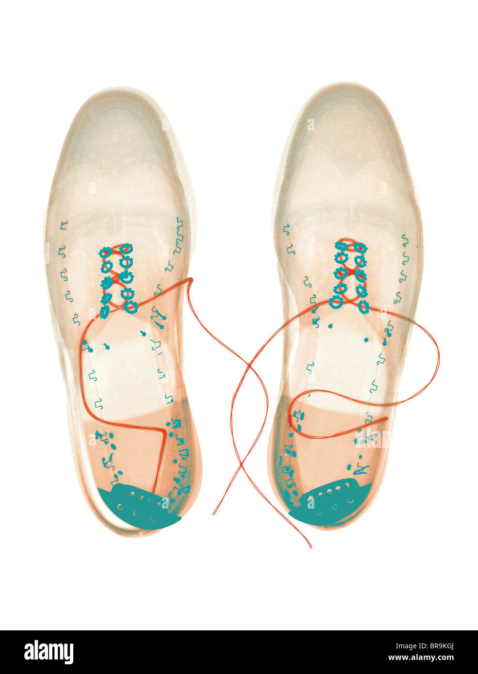 Xray image of shoes - Stock Image