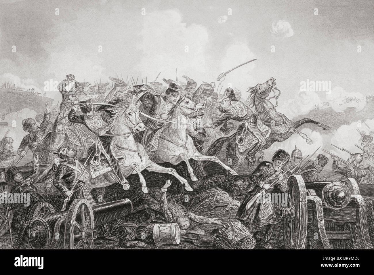 The Battle of Balaclava Haro Prii, Crimea, 25 October 1854.  Charge of the Light Brigade. - Stock Image