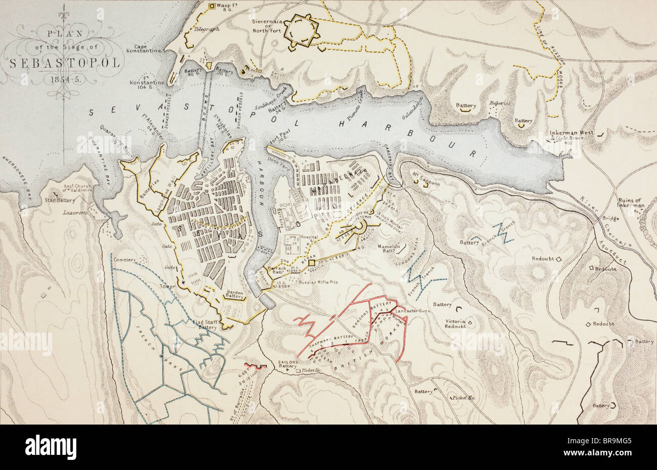 Plan of The Siege of Sevastopol, 1854 to 1855. - Stock Image