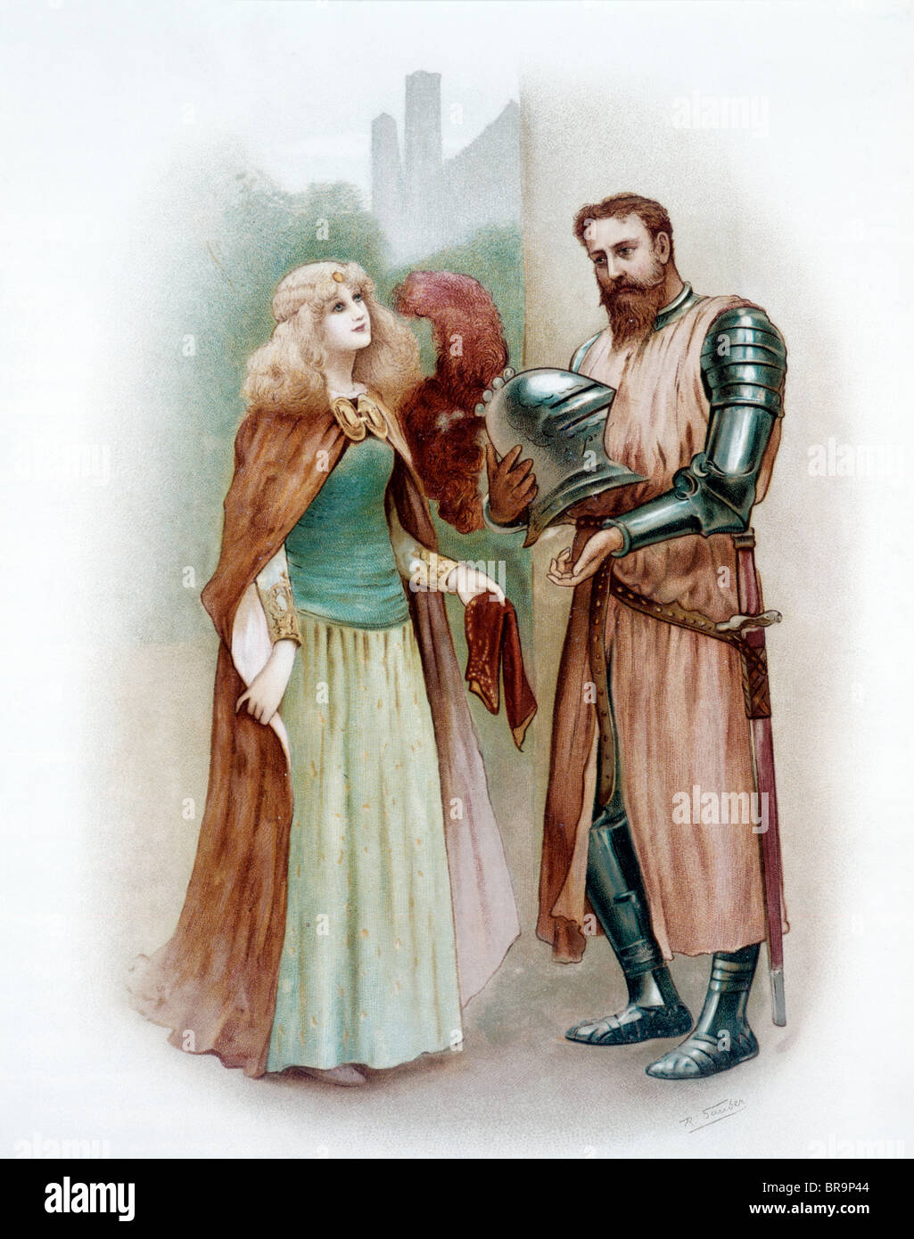 COLOR ILLUSTRATION OF MEDIEVAL KNIGHT LANCELOT AND LADY ELAINE Stock Photo