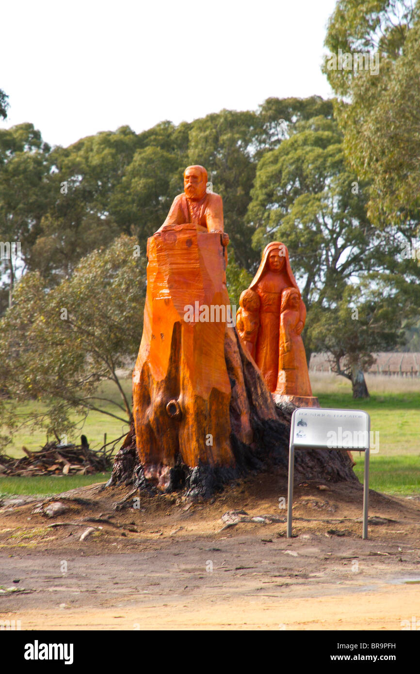 Wooden sculpture depicting the work of Father Julian Tenison Woods near Penola in South Australia. - Stock Image