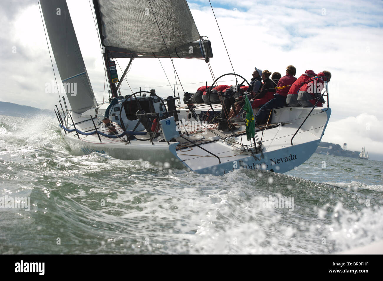 mayhem, a transpac 52, and its crew all hiked out Stock Photo