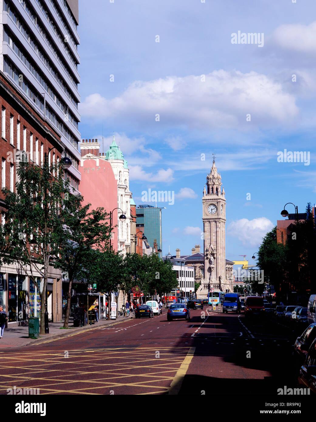 High Street, Albert Memorial Clock, Belfast, Ireland Stock Photo