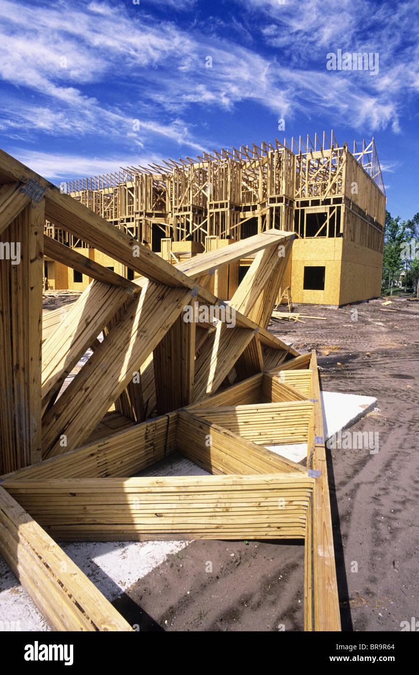 1990s WOODEN FRAMES ON CONSTRUCTION SITE OF TOWNHOUSES - Stock Image