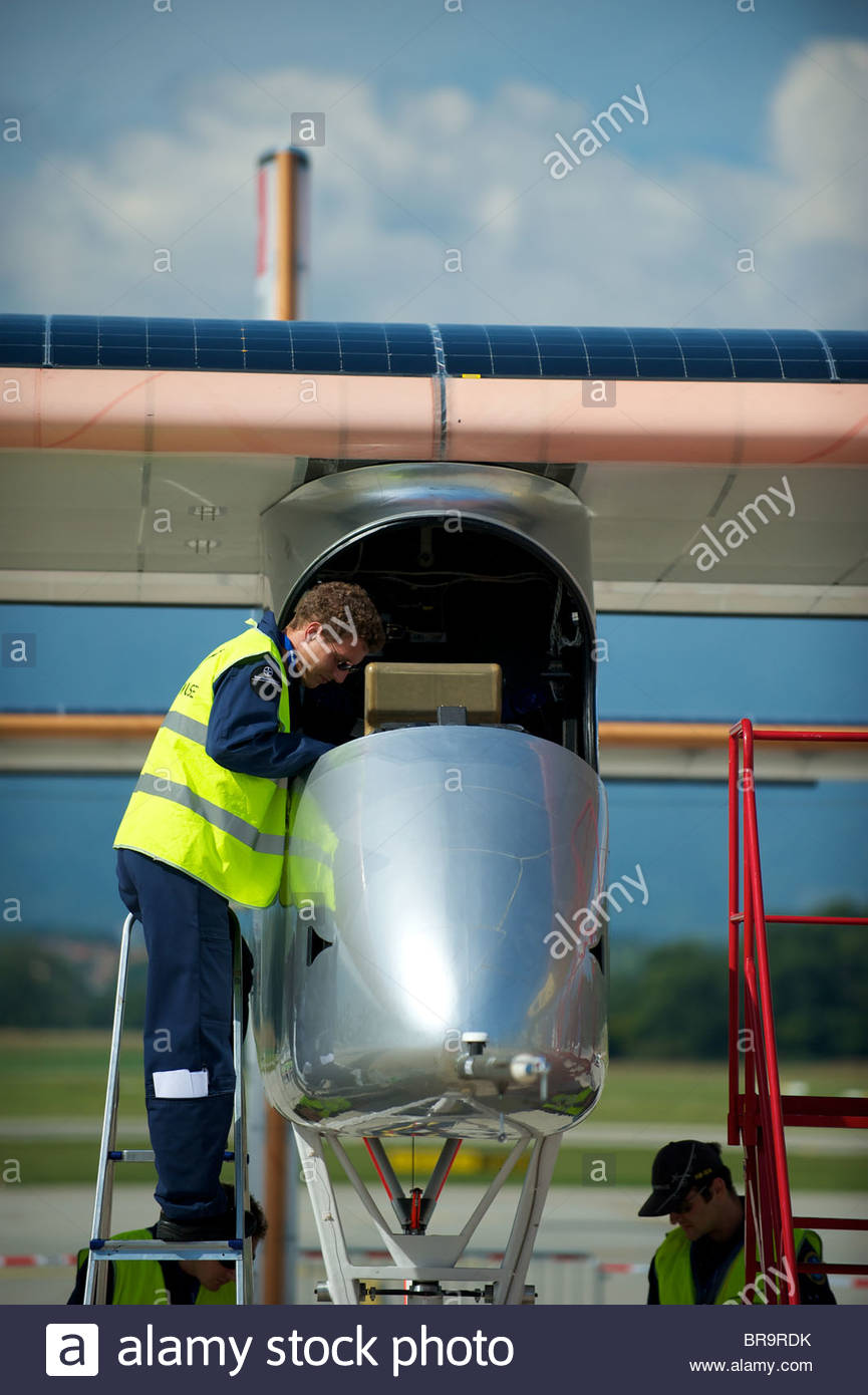 Solar Impulse revolutionary solar plane HB-SIA. Solar Impulse's ambition is for the world of exploration and innovation. Stock Photo