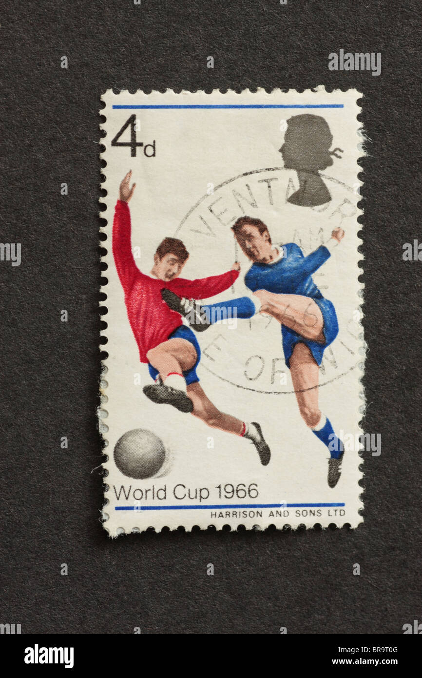 1966 World Cup Postage Stamp Players with Ball UK - Stock Image