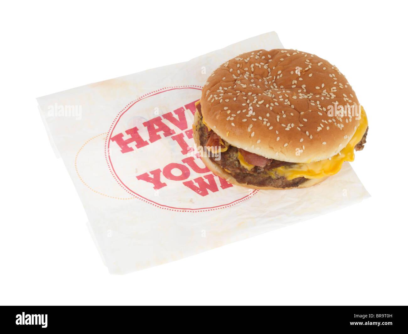 XL Bacon Double Cheeseburger Stock Photo