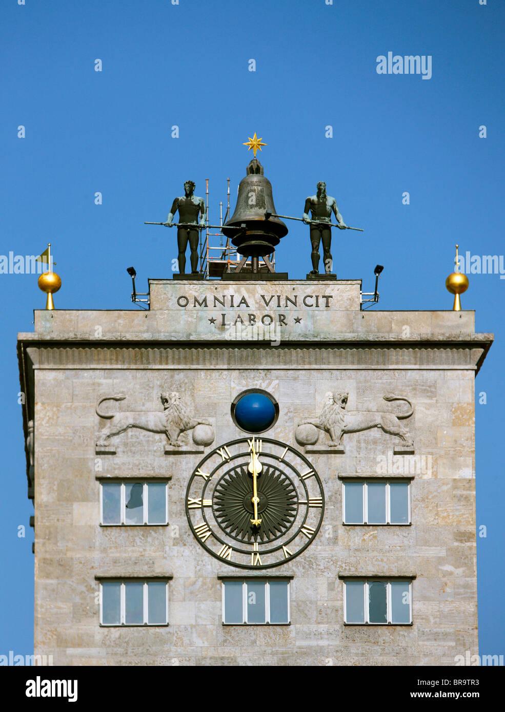 Uhrenturm der Wilden Maenner 1497, Clock Tower of the Wild Men 1497, Krochhochhaus skyscraper on Augustusplatz Square, - Stock Image