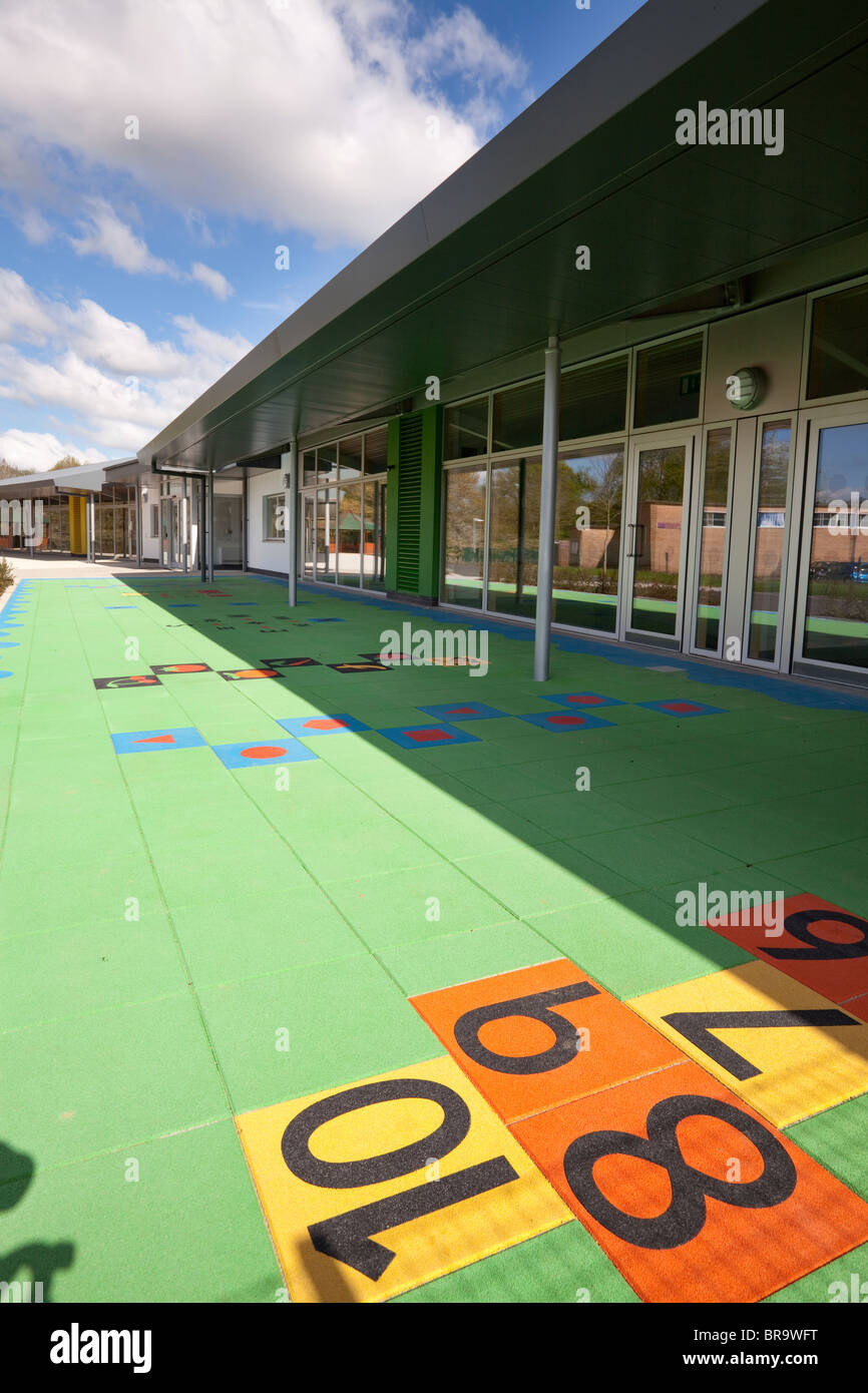 hopscotch markings on unoccupied school playground Stock Photo