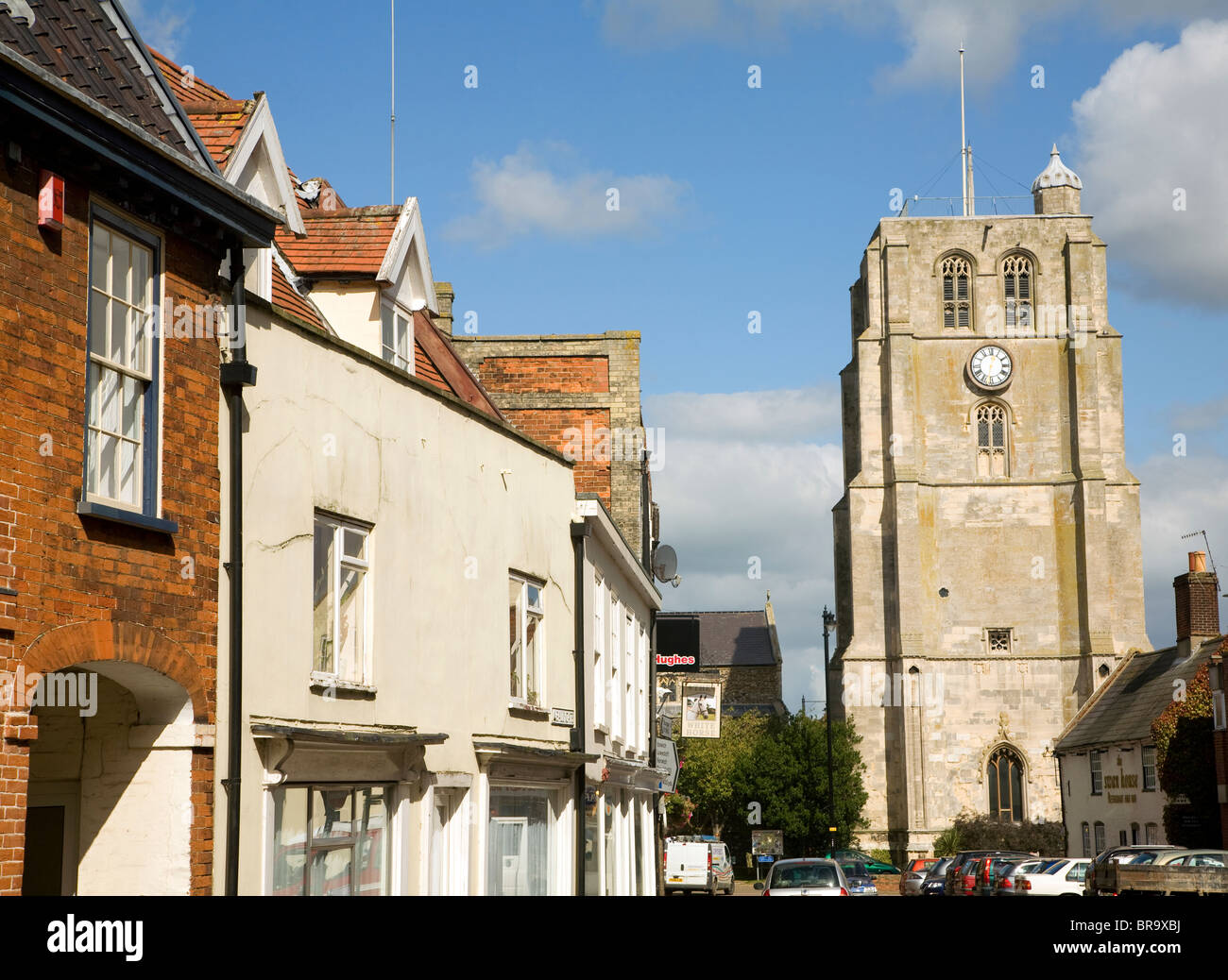 Church tower and historic buildings, Beccles, Suffolk, England - Stock Image