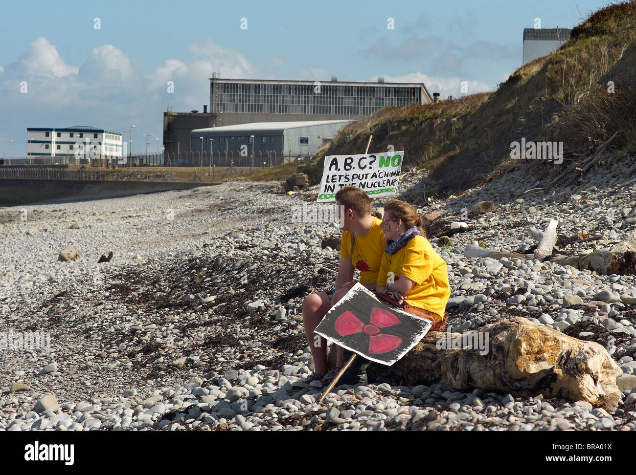 Demonstration on the beach at Hinkley Point nuclear power station against plans for a third power station Sept 2010 - Stock Image