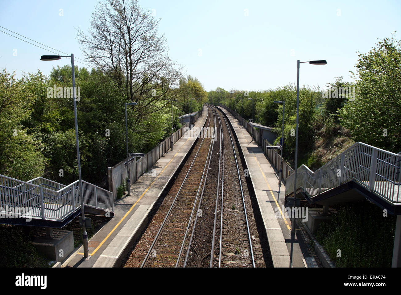 Rural railway track and station platform at Snowdown. This line runs between Dover and Canterbury, Kent, UK. - Stock Image