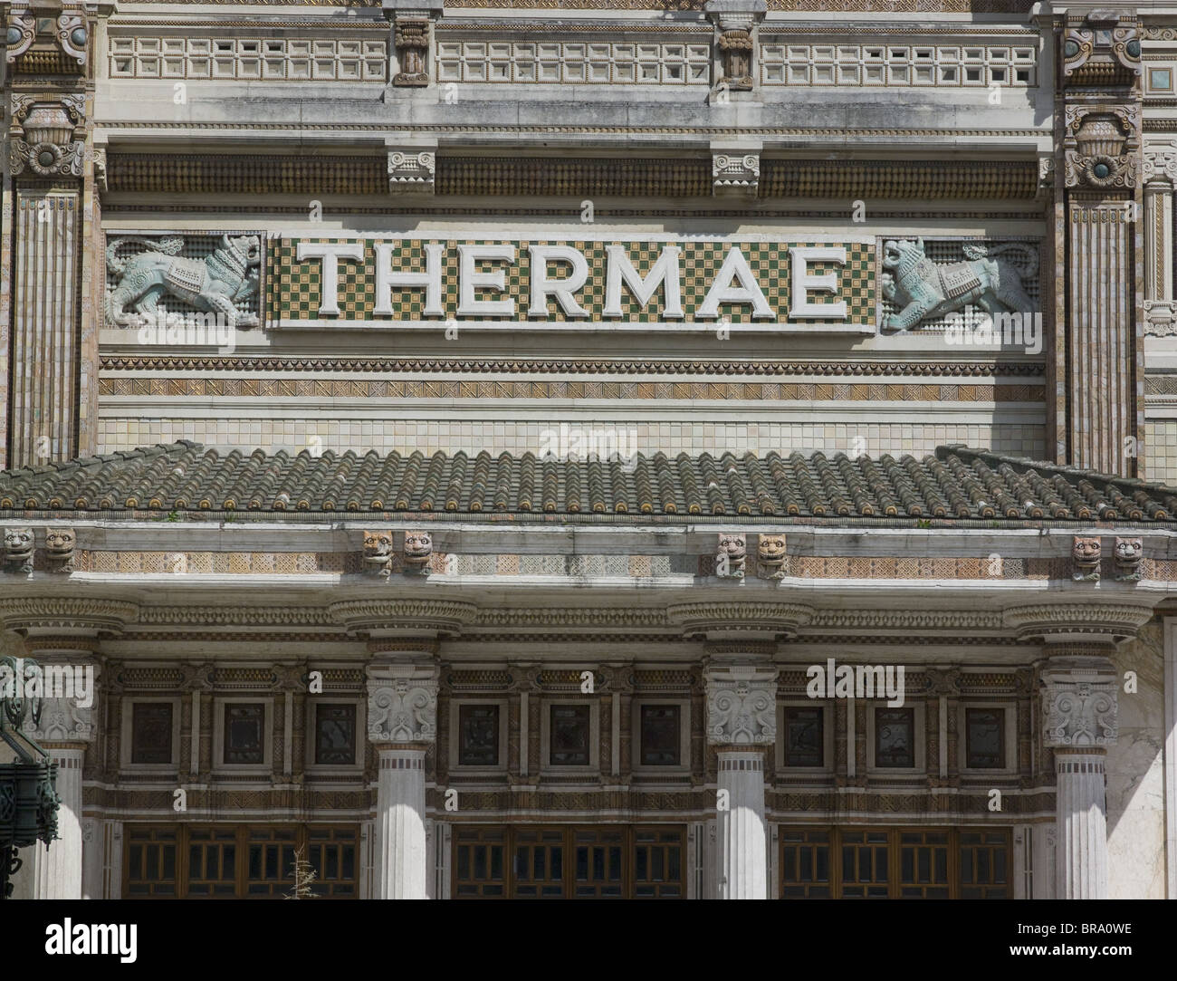 Salsomaggiore, Italy, thermal baths by Art Nouveau architect Ugo Giusti. Begun 1912 opened 1923. Thermae Lettering - Stock Image