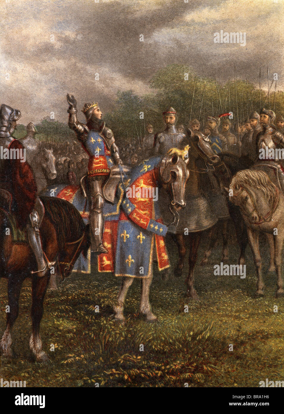 1400s HENRY V OF ENGLAND SPEAKING TO HIS ARMY FROM ARMORED HORSE BEFORE BATTLE OF AGINCOURT OCTOBER 25 1415 15TH - Stock Image