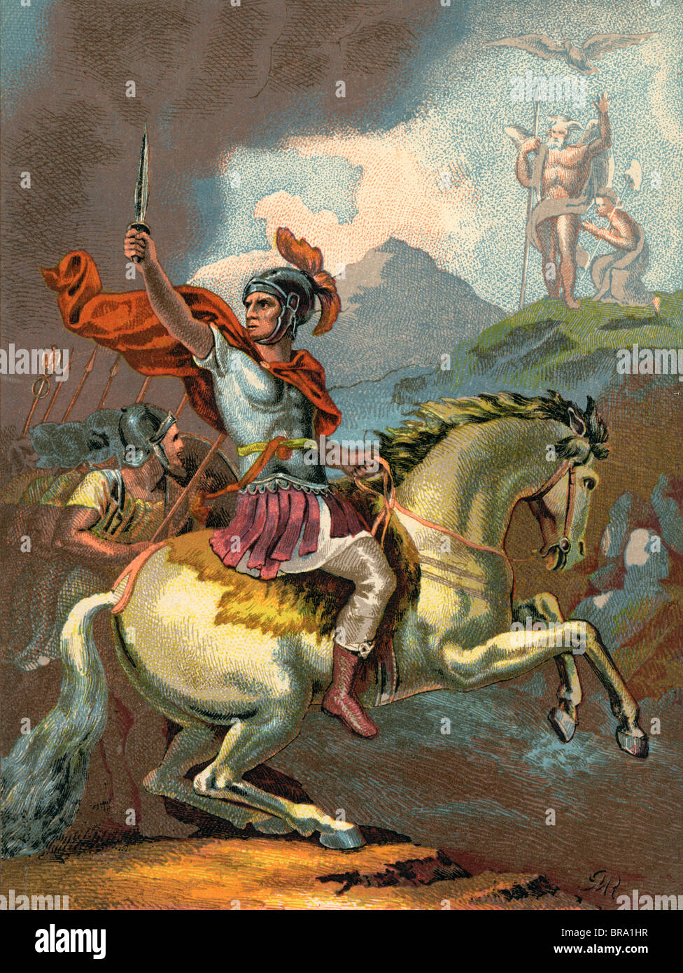 49 B.C. ROMAN JULIUS CAESAR CESAR LEADS HIS TROOPS FROM HORSEBACK ACROSS THE RUBICON RIVER - Stock Image
