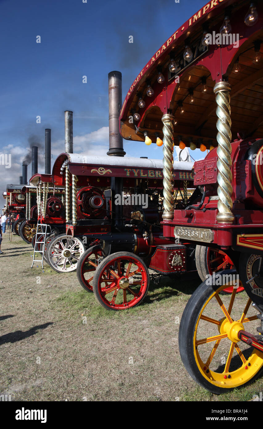 Steam 'showman's' engines at the Great Dorset steam fair. - Stock Image