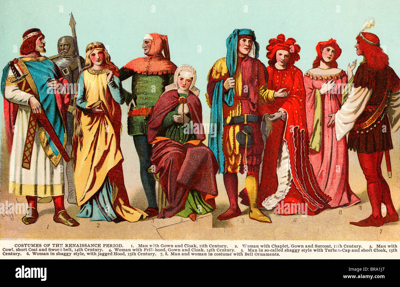 COSTUMES OF THE RENAISSANCE PERIOD LINE OF MEN AND WOMEN IN CLOTHING FROM THE 11TH TO 15TH CENTURY - Stock Image