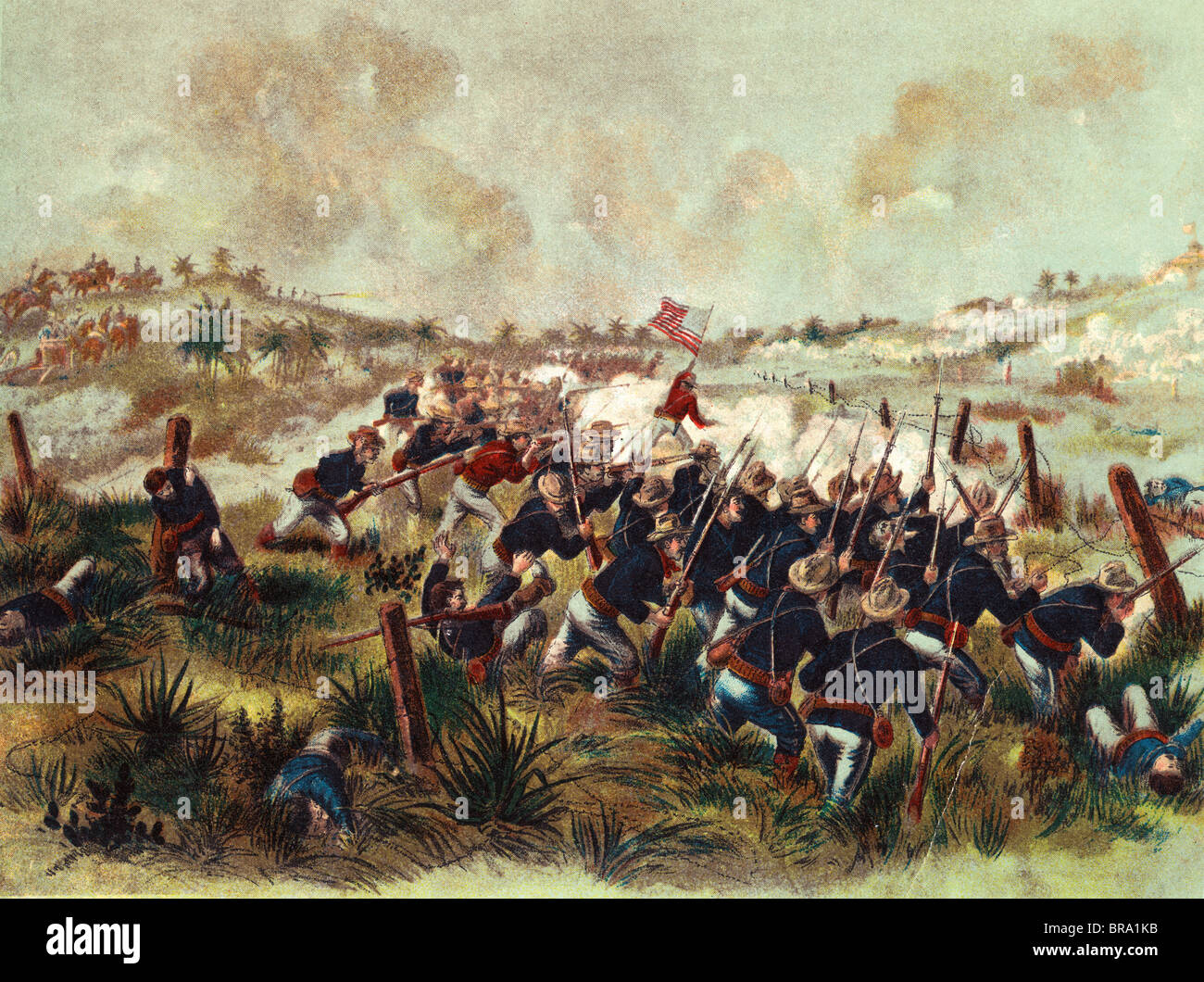 1890s AMERICAN TROOPS CHARGE SAN JUAN HILL CUBA JULY 1 1898 DURING SPANISH AMERICAN WAR BATTLE SCENE - Stock Image