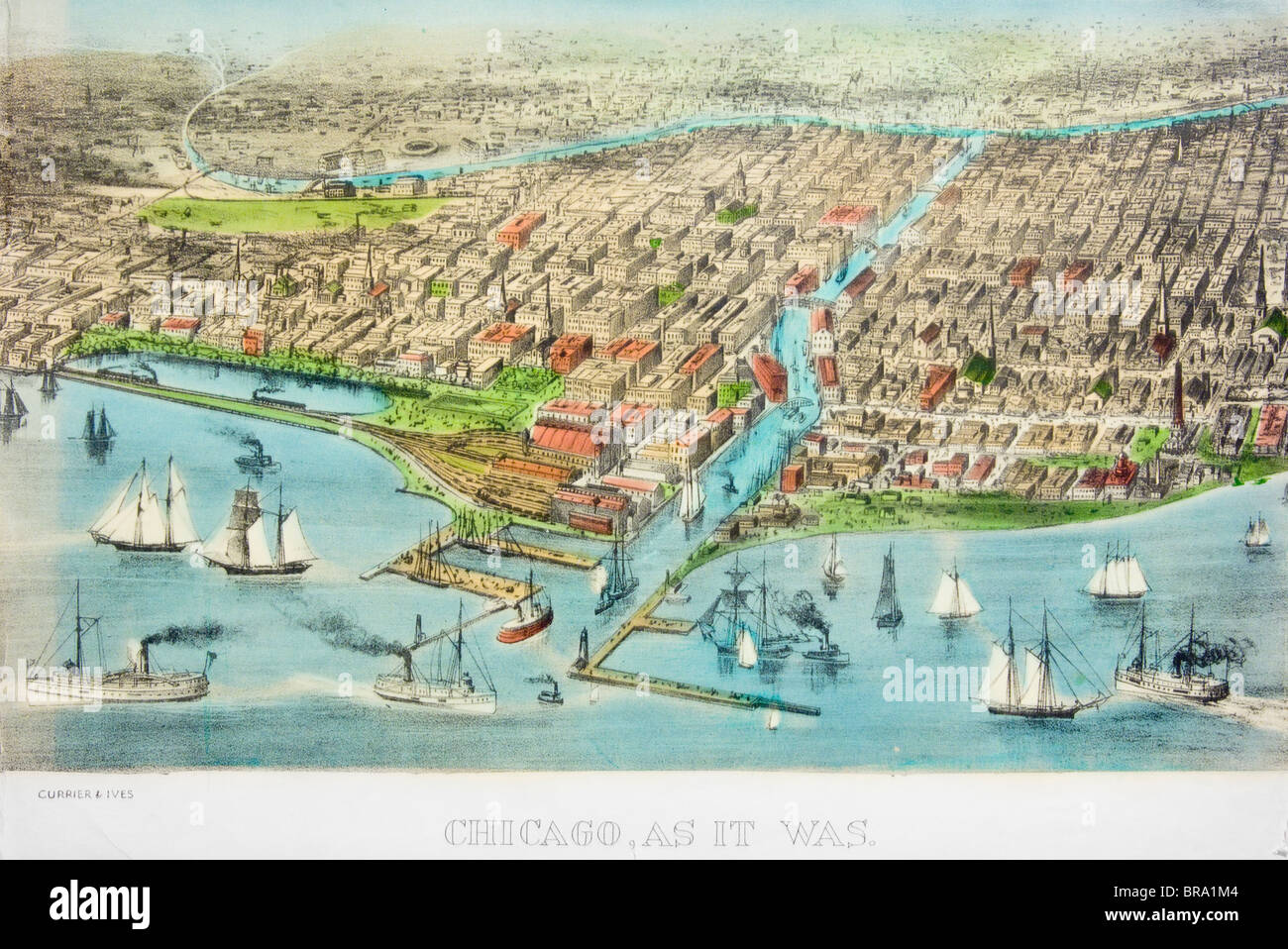 CURRIER & IVES ILLUSTRATION OF CHICAGO CIRCA 1871 - Stock Image
