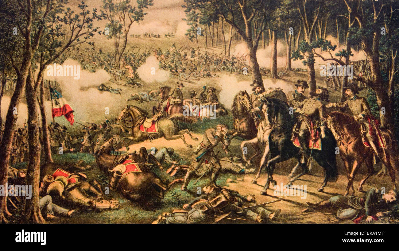 1863 BATTLE OF CHANCELLORSVILLE BY KURZ & ALLISON AMERICAN CIVIL WAR GENERAL STONEWALL JACKSON BEING WOUNDED - Stock Image