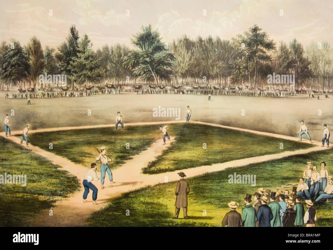 CURRIER & IVES ENGRAVING CHAMPIONSHIP BASEBALL GAME ELYSIAN FIELDS HOBOKEN NJ 1800s 1860s 1865 BASE BALL GAME - Stock Image