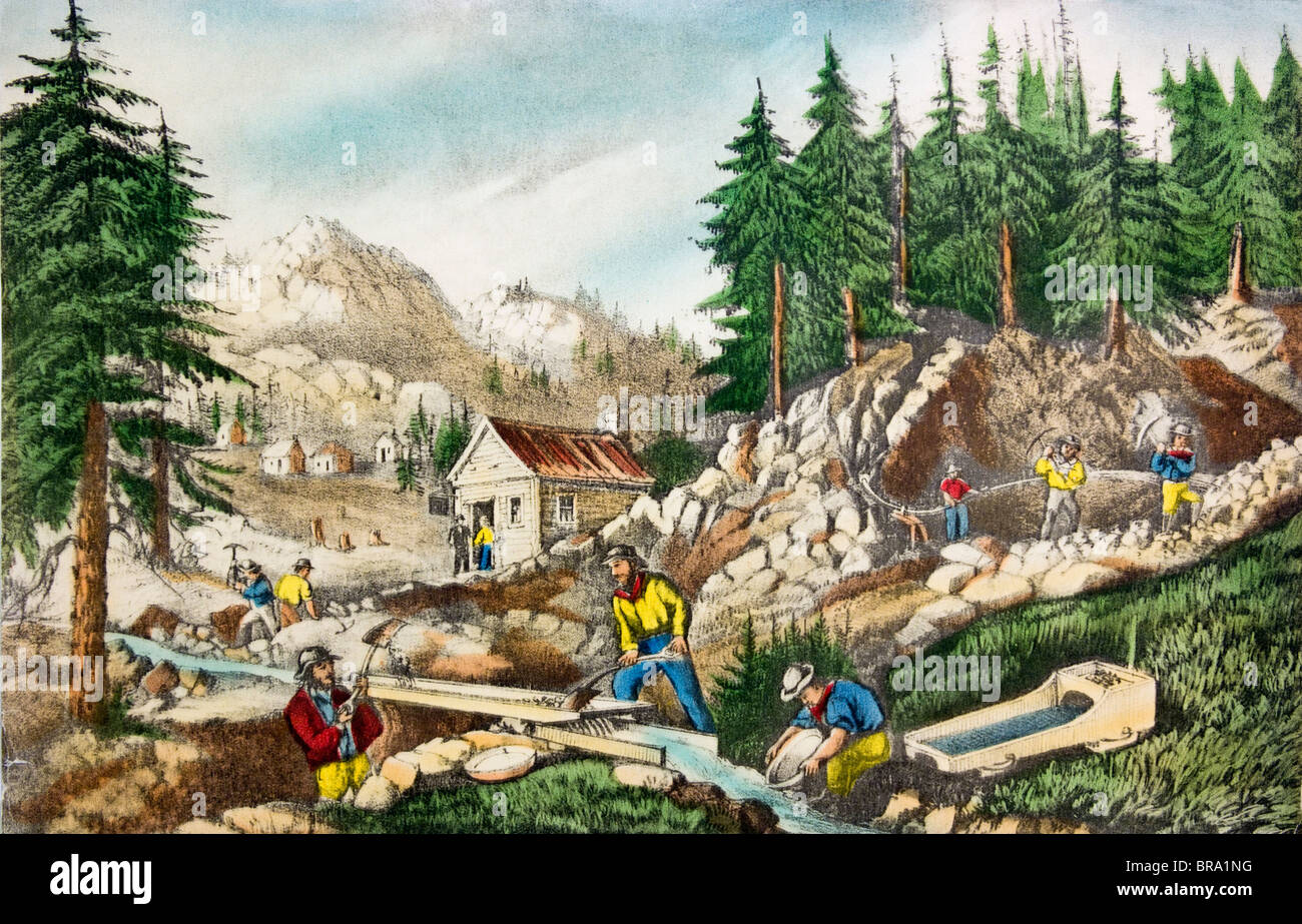 1800s CURRIER & IVES COLOR ENGRAVING OF THE GOLD MINING FIELDS IN CALIFORNIA CIRCA 1848 1849 - Stock Image