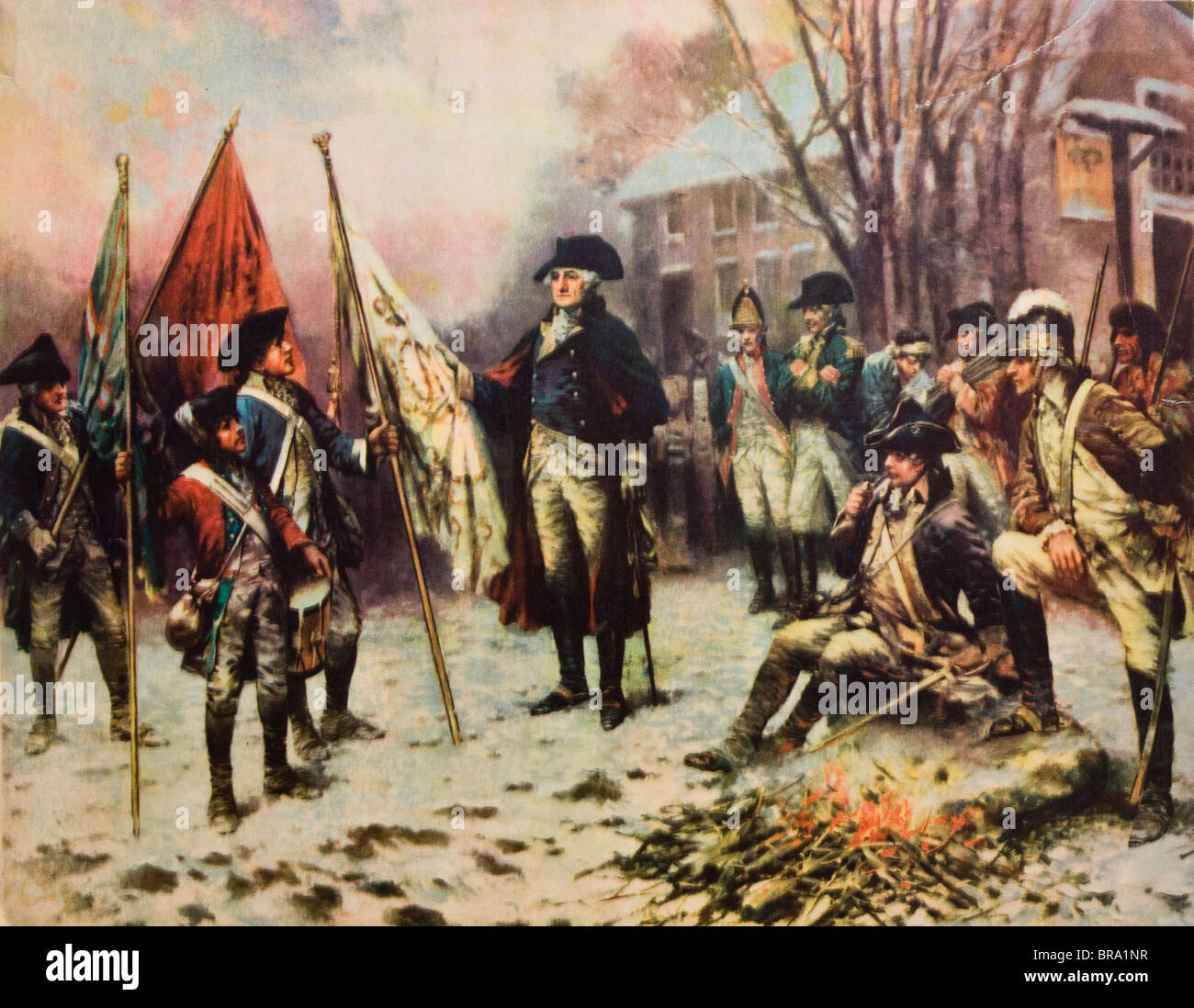 1700s 1770s PAINTING OF GEORGE WASHINGTON WINTER AT VALLEY FORGE WITH SOLDIERS AROUND HIM AMERICAN REVOLUTION - Stock Image