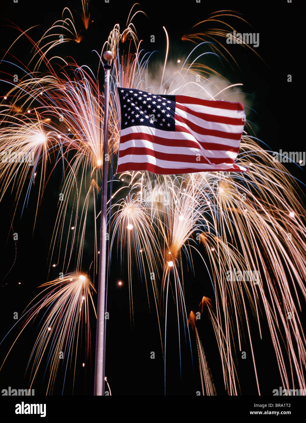 1970s american flag and fireworks stock image