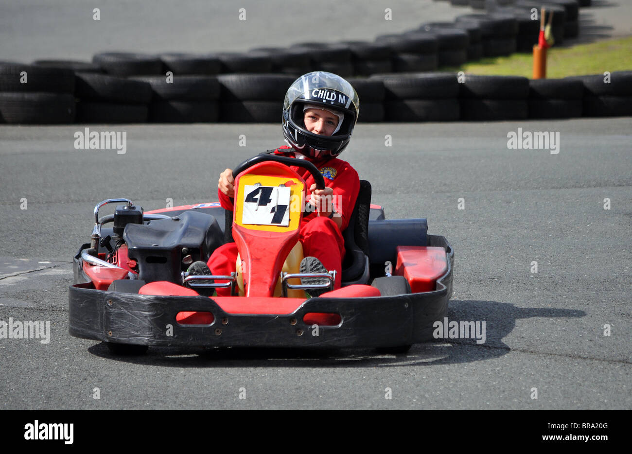 a young boy at a go-kart racing event, uk Stock Photo: 31568560 - Alamy