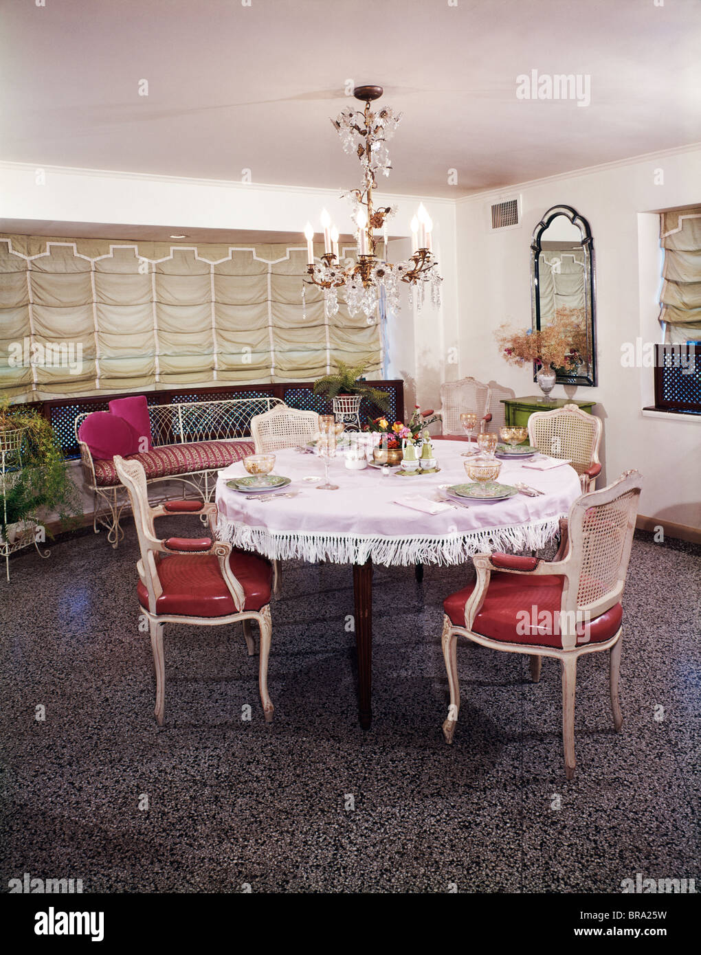 Exceptional 1960s DINING ROOM TABLE CHAIRS PLACES SET FOR FOUR FRINGED TABLECLOTH  CHANDELIER AUSTRIAN SHADE WINDOW TREATMENT