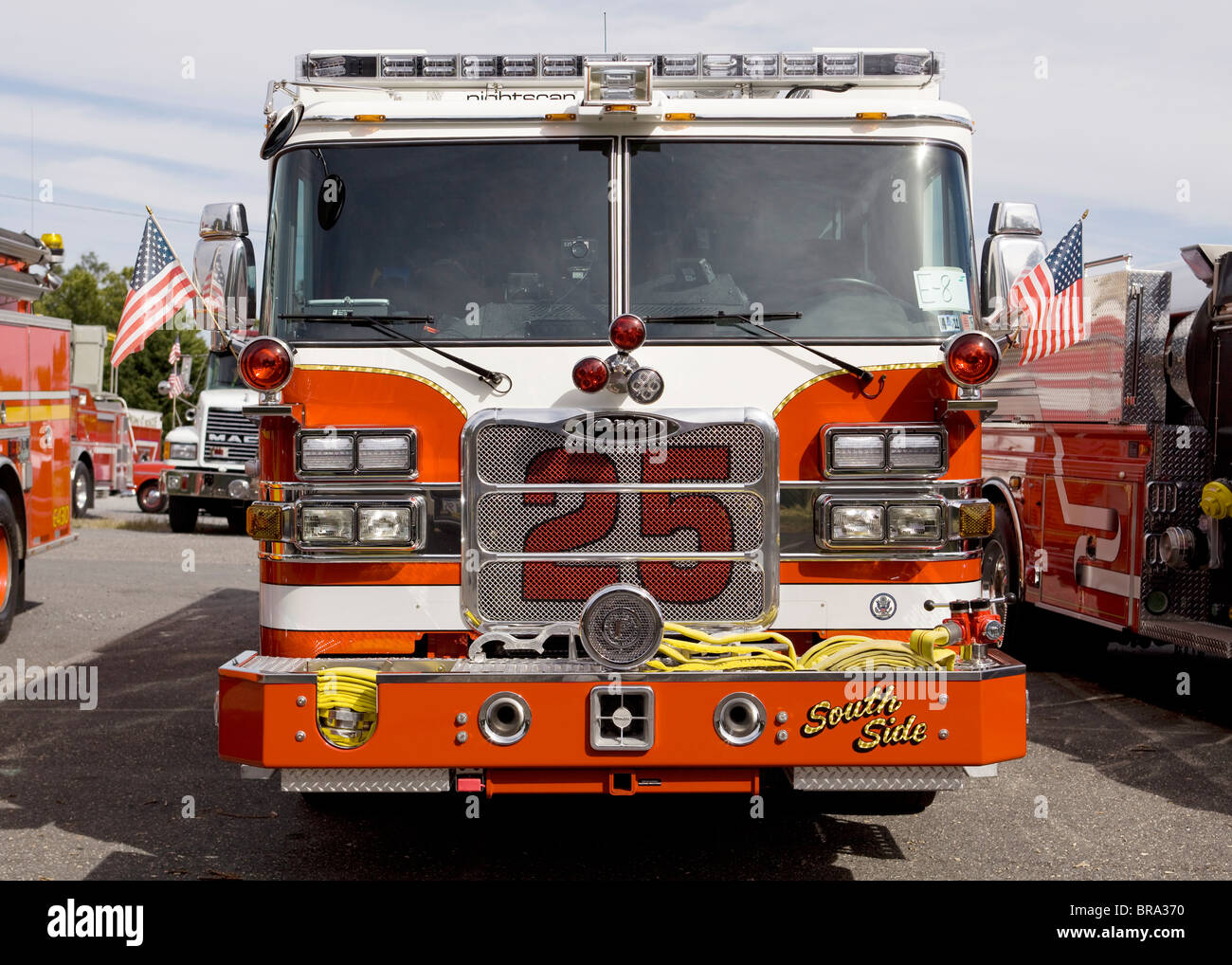 Modern fire truck front end - Stock Image