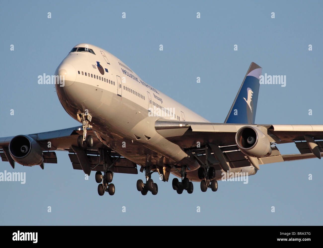 Close up view of a Hellenic Imperial Airways Boeing 747 jumbo jet on arrival - Stock Image