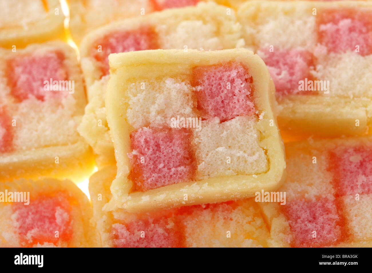 cross section of mini battenberg cake - Stock Image