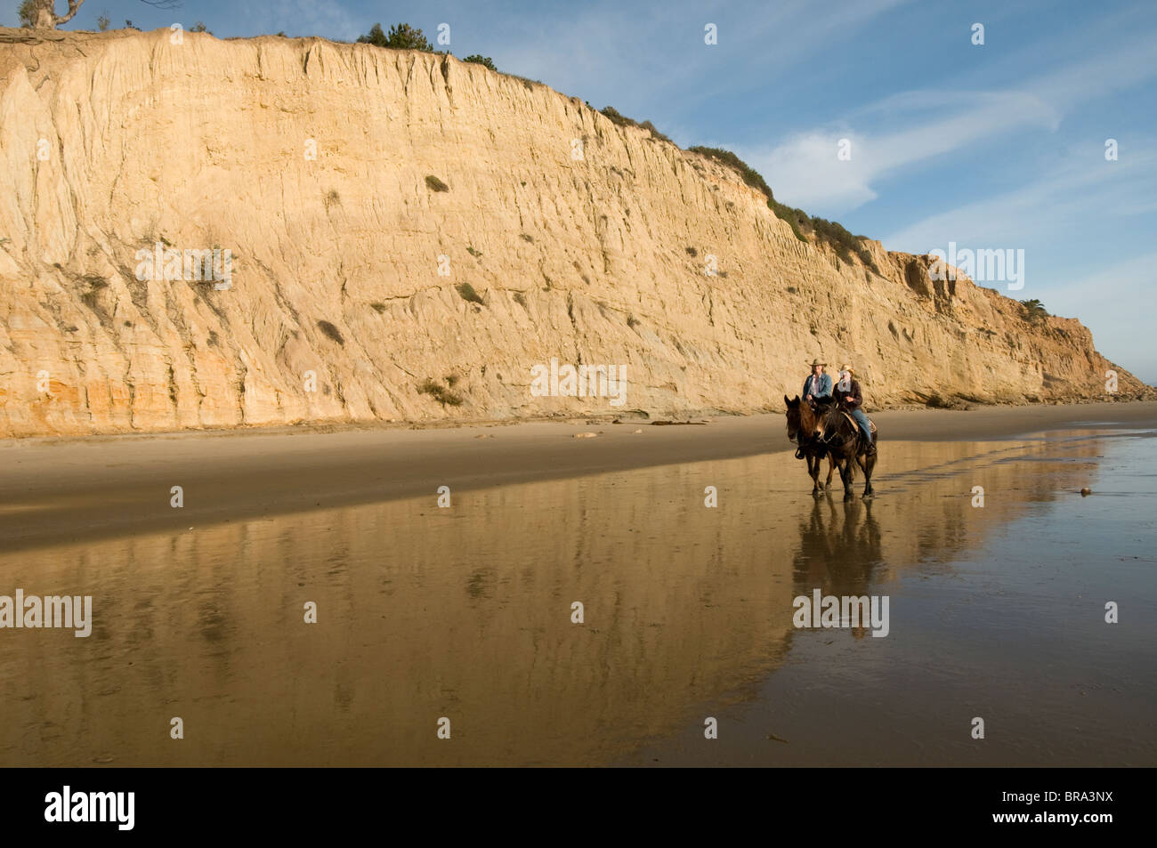 Mule riders pass cliffs on beach at Summerland Santa Barbara Central California Coast USA - Stock Image