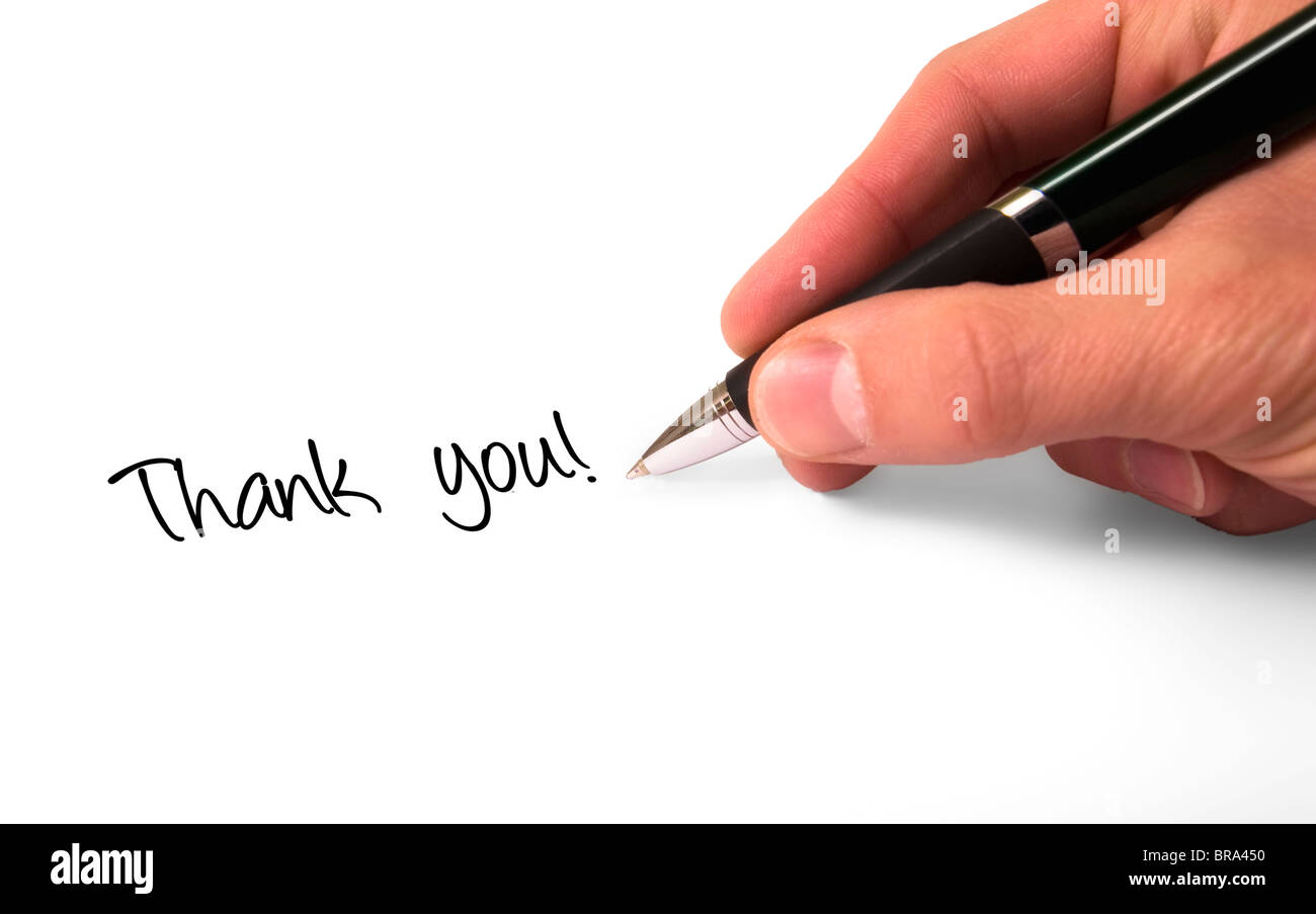 Fountain pen writing thank you! - Stock Image