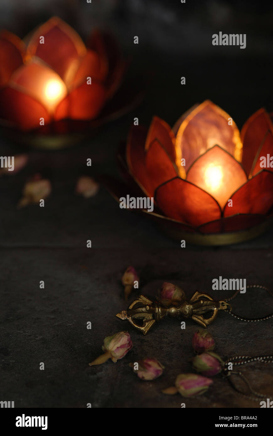 lotus candle holders - Stock Image