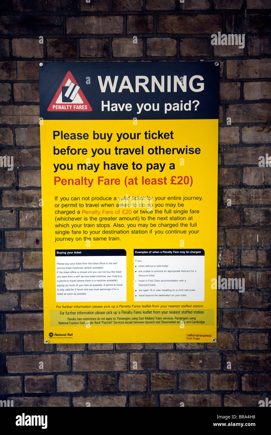 Penalty fare railway warning notice - Stock Image